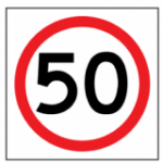 Temporary Traffic Signs 50 IN ROUNDEL