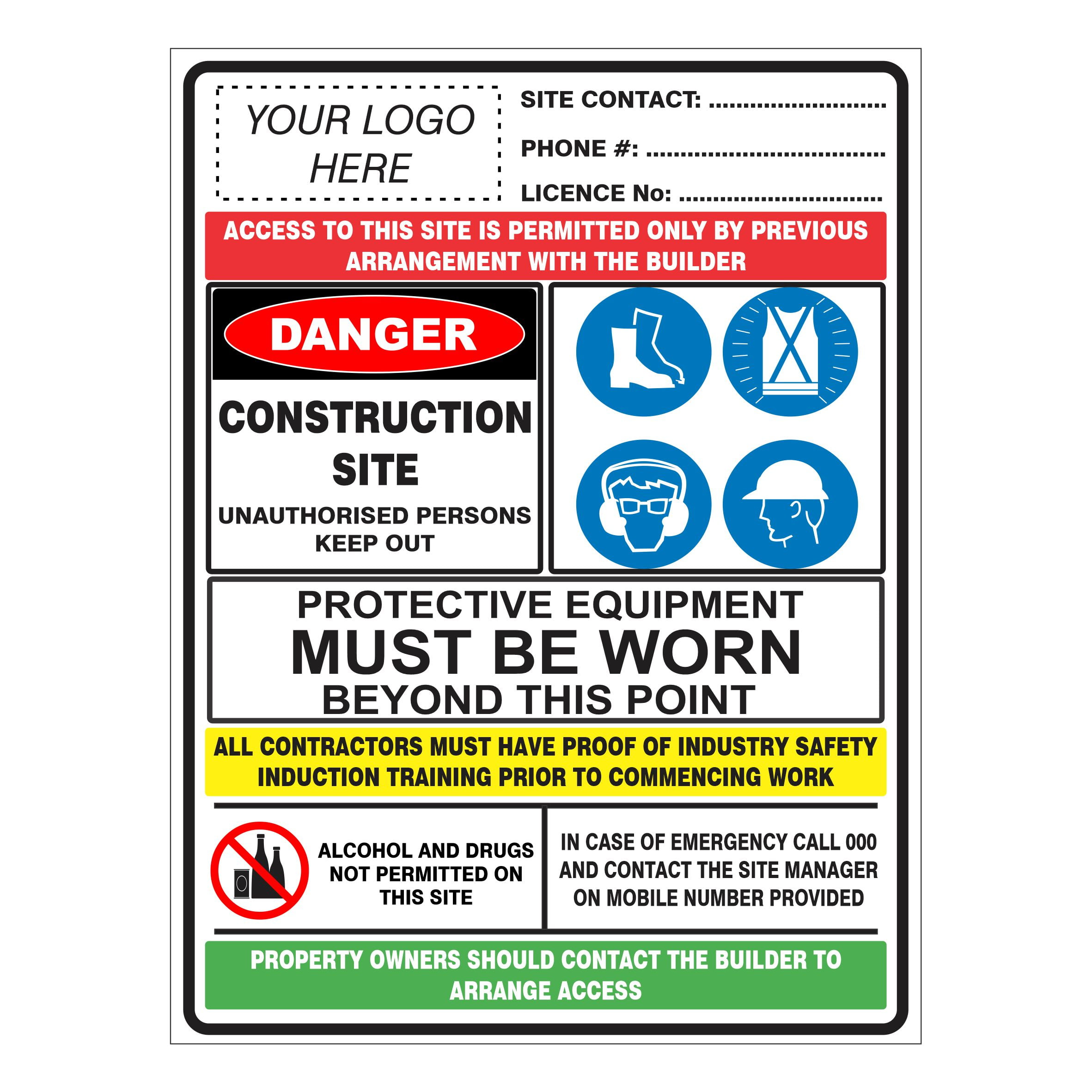 CONSTRUCTION SITE COMBINATION SIGN NO LOGO Construction Site Signs