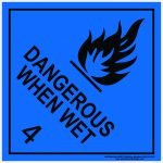 Hazchem Signs CLASS 4 - DANGEROUS WHEN WET - BLACK