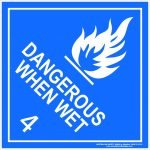 Hazchem Signs CLASS 4 - DANGEROUS WHEN WET - WHITE