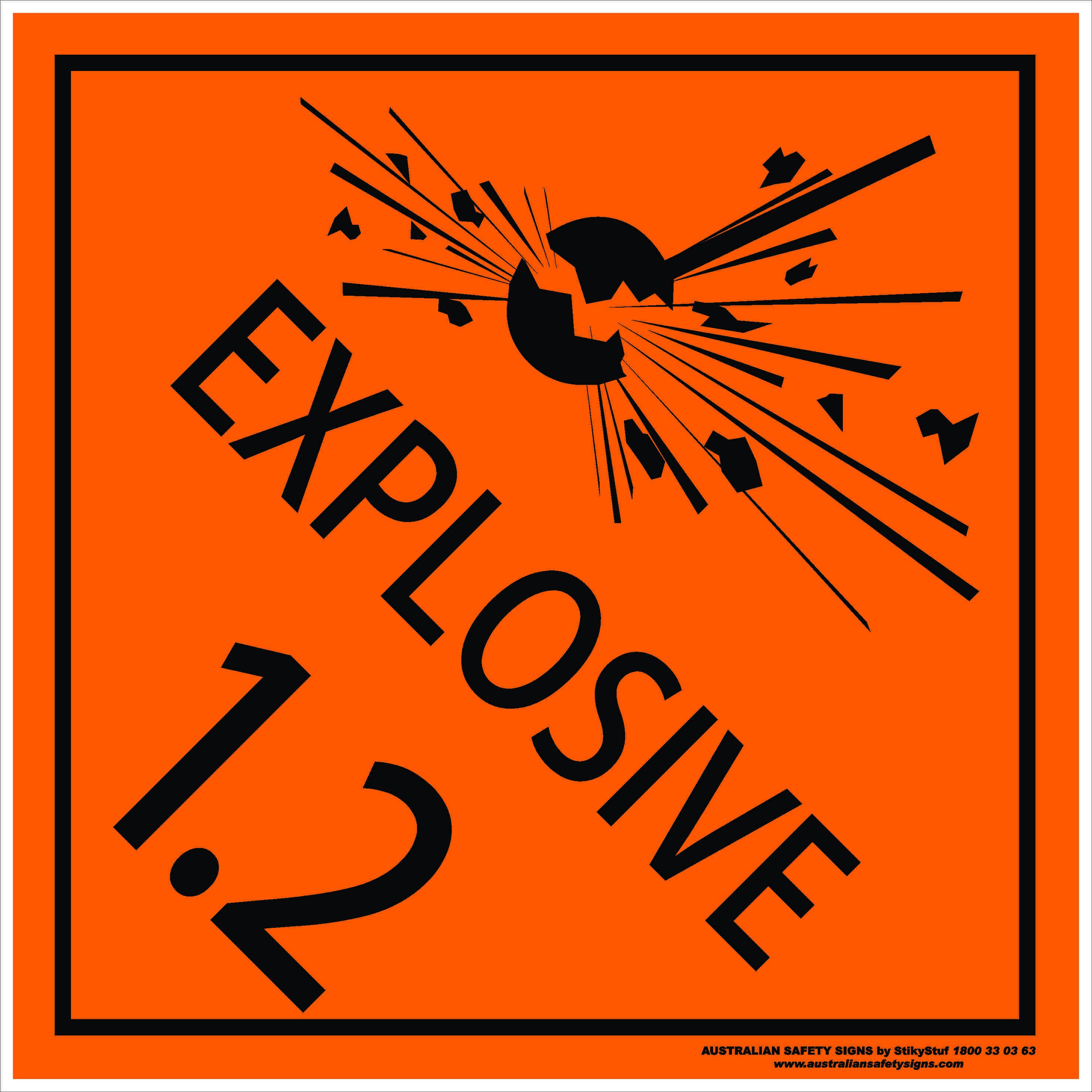 Hazchem Signs CLASS 1 - EXPLOSIVE 1.2