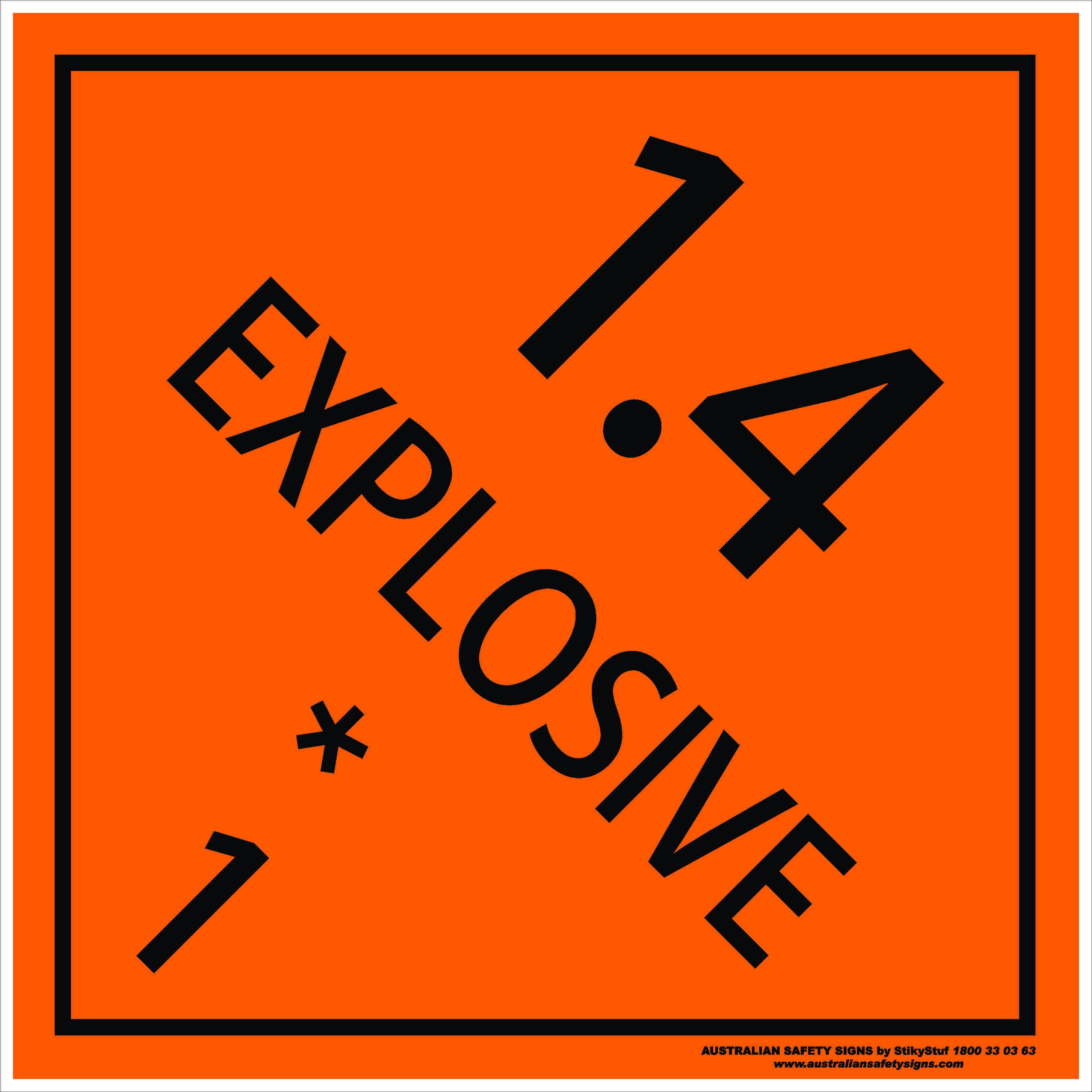 Hazchem Signs CLASS 1 - EXPLOSIVE 1.4