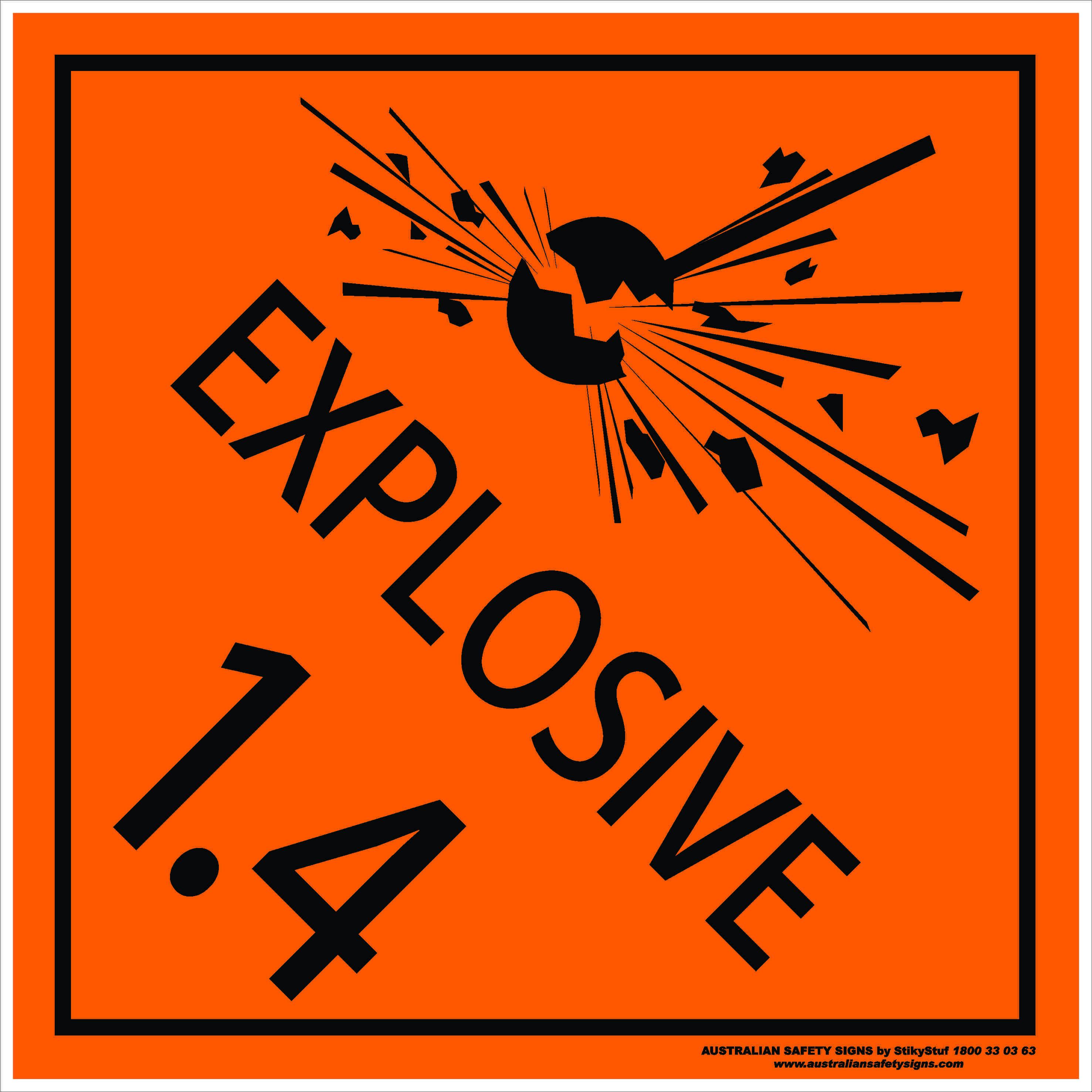 Hazchem Signs CLASS 1 - EXPLOSIVE 1.4a