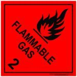 Hazchem Signs CLASS 2 - FLAMMABLE GAS - BLACK