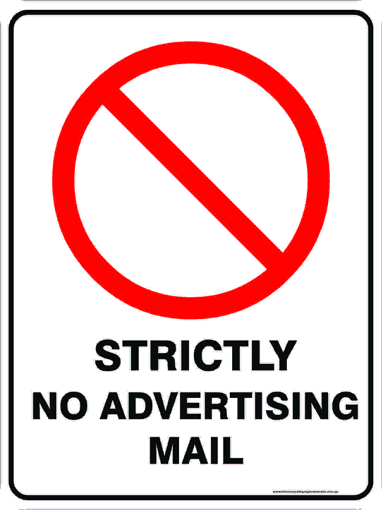 Prohibition Signs STRICTLY NO ADVERTISING MAIL