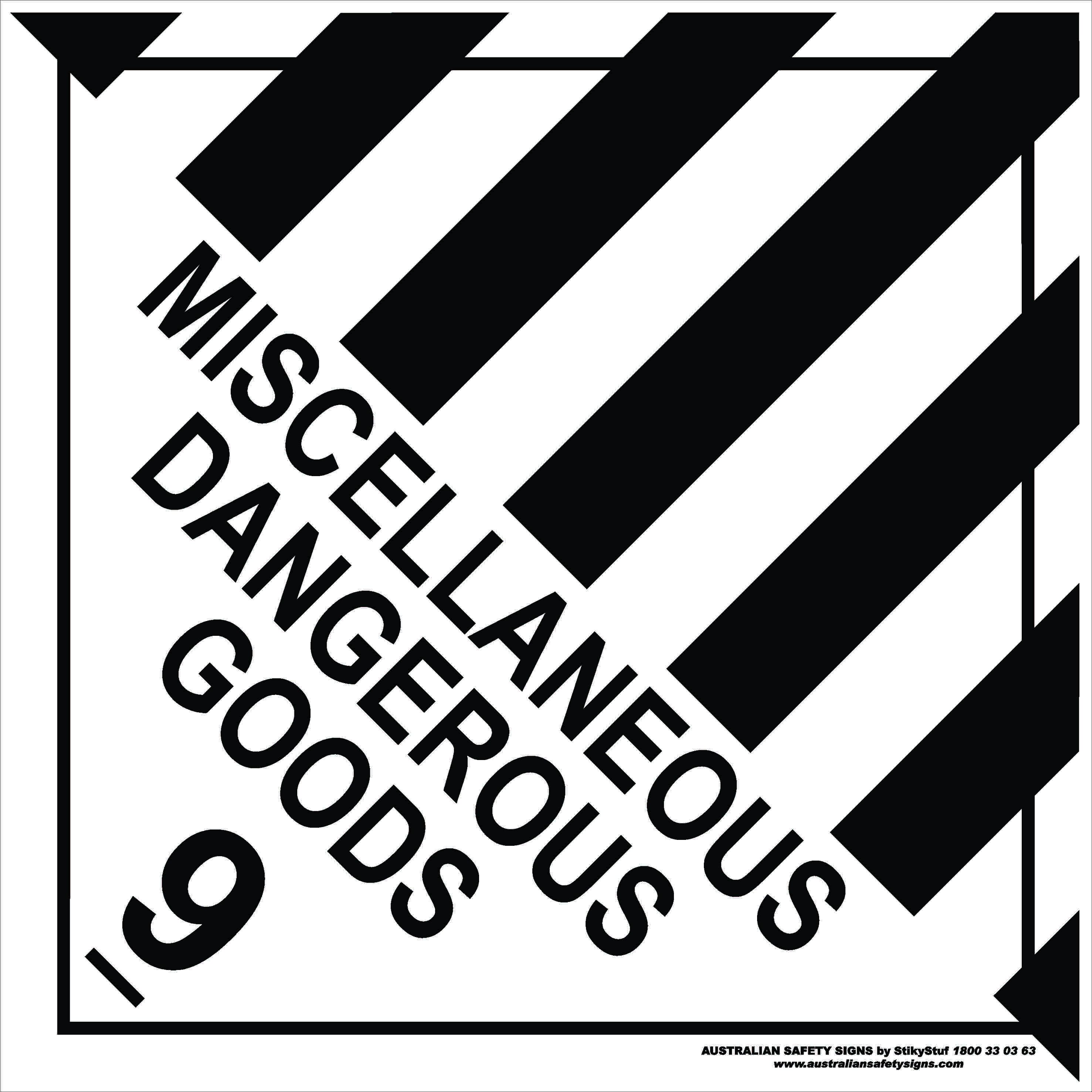 Hazchem Signs CLASS 9 - MISCELLANEOUS DANGEROUS GOODS