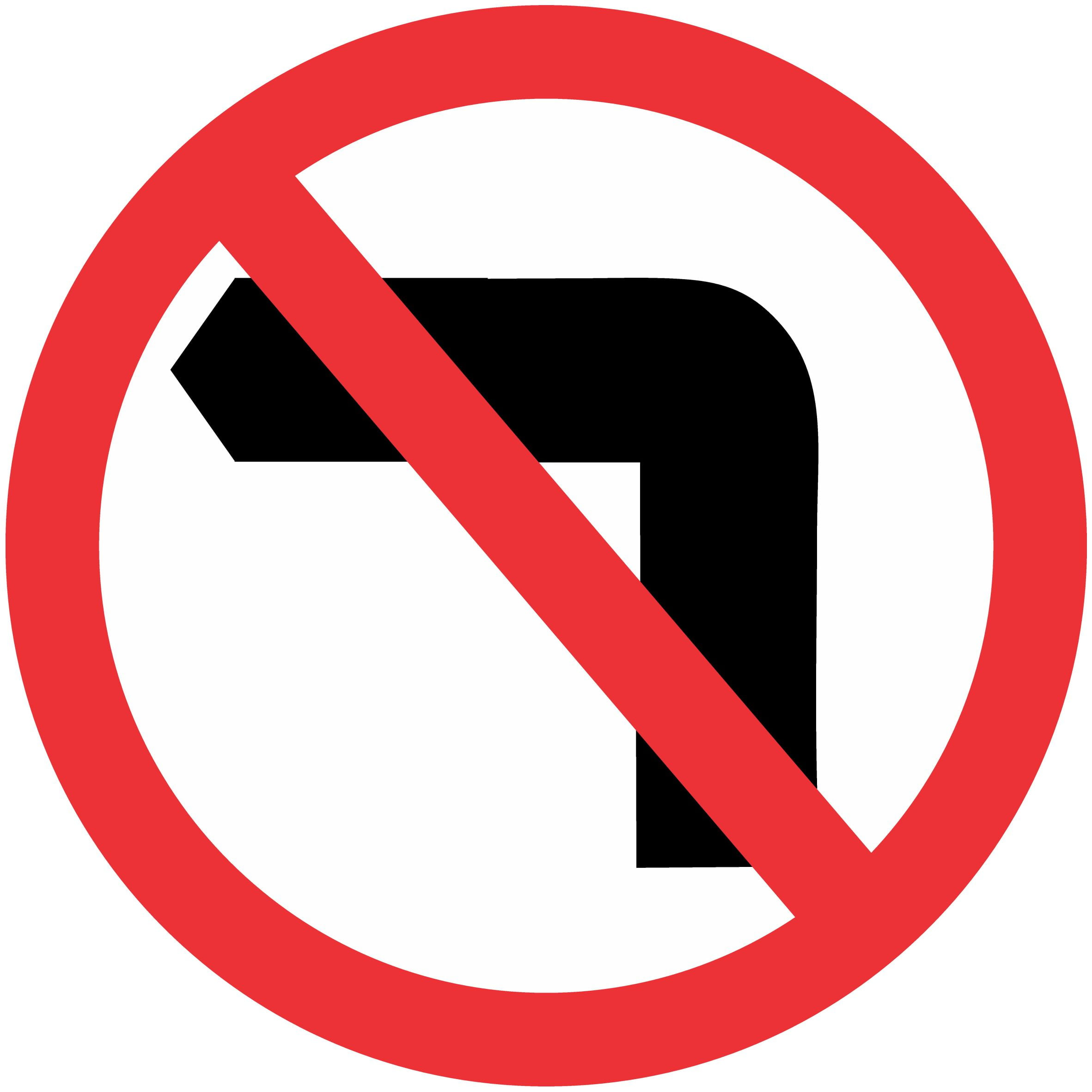 NO LEFT TURN PICTO | Buy Now | Discount Safety Signs Australia