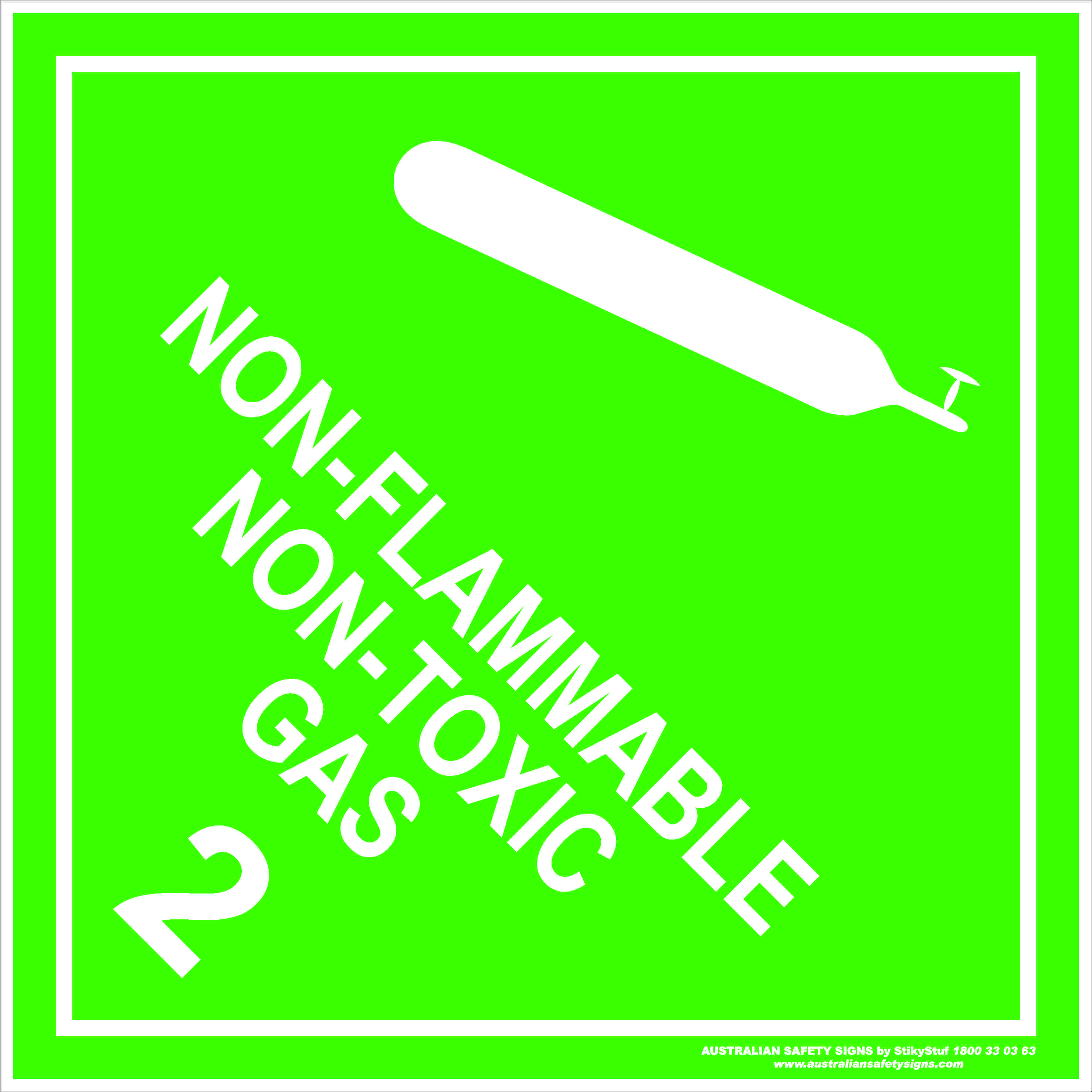 Hazchem Signs CLASS 2 - NON-FLAMMABLE NON-TOXIC GAS - WHITE