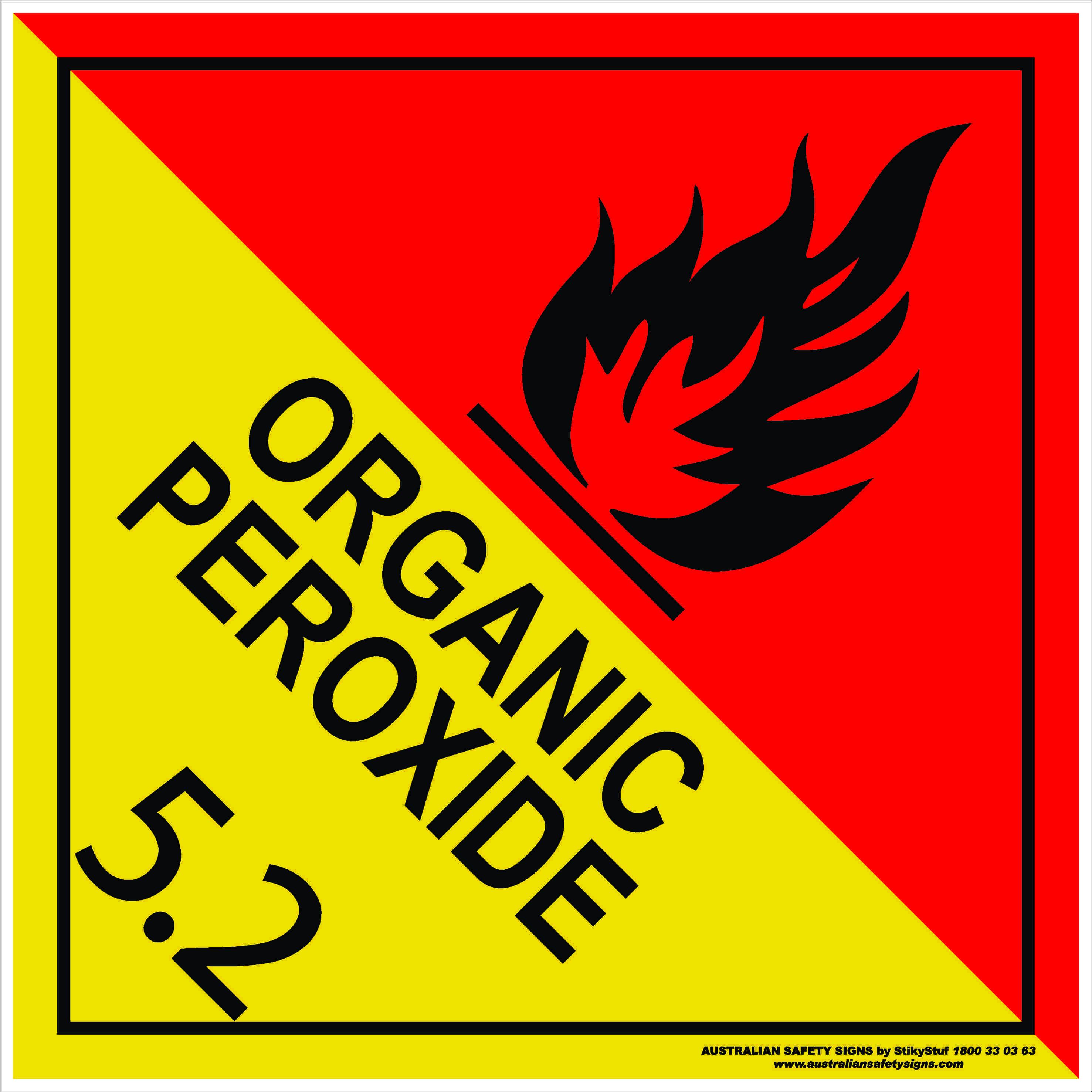 Hazchem Signs CLASS 5 - ORGANIC PEROXIDE 5.2 BLACK