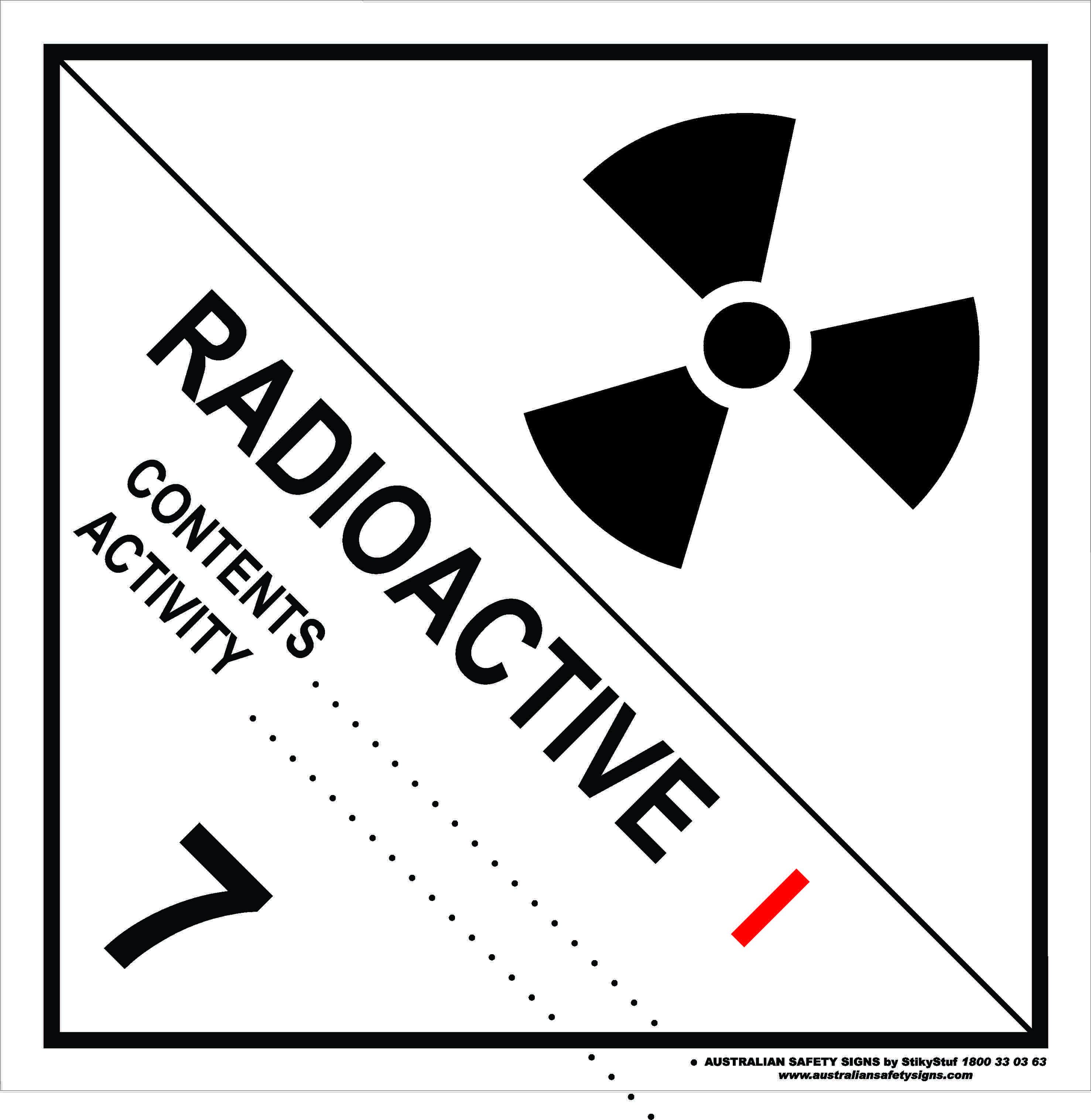 Hazchem Signs CLASS 7 - RADIOACTIVE - CATEGORY 1