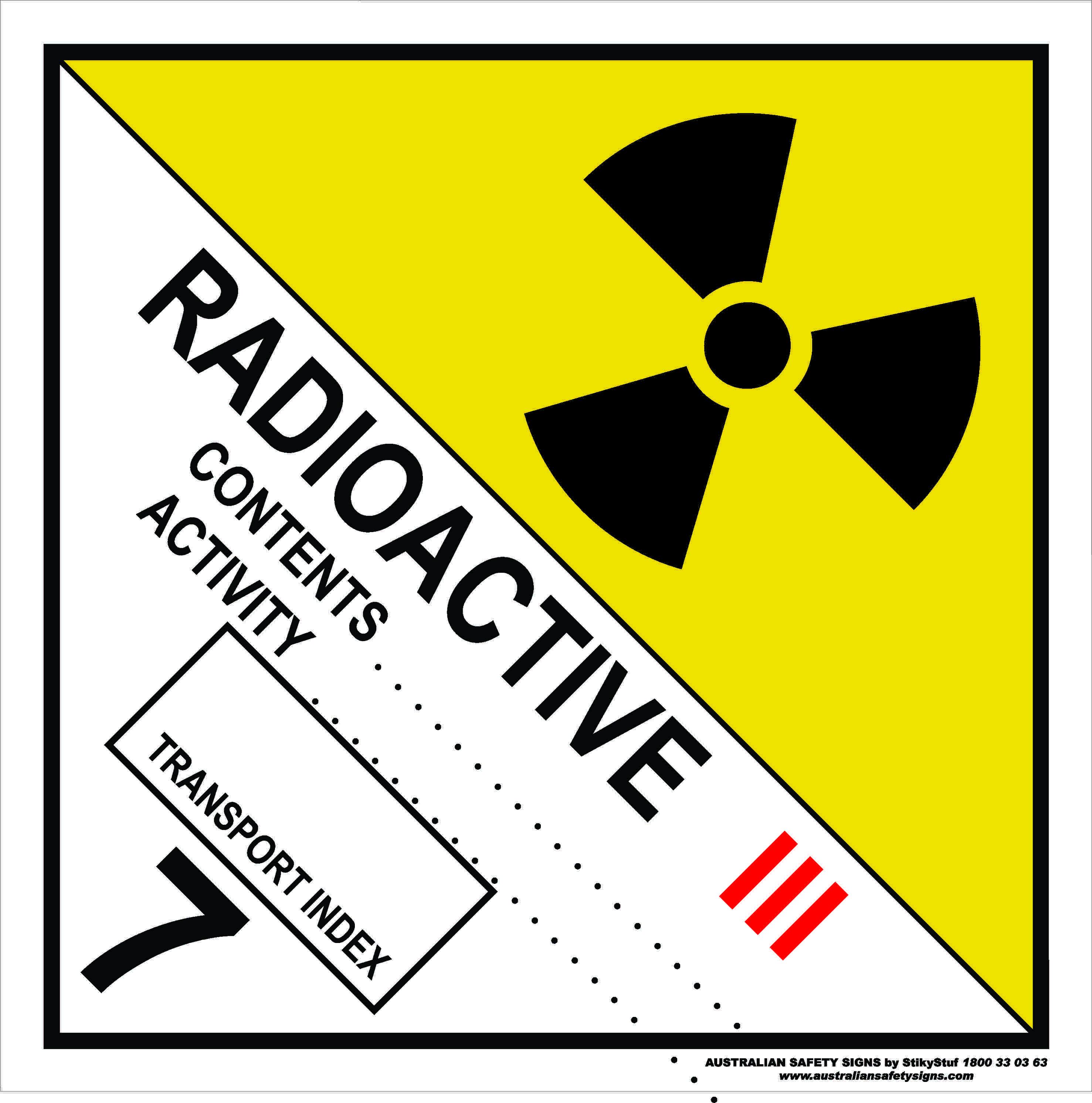 Hazchem Signs CLASS 7 - RADIOACTIVE - CATEGORY 3