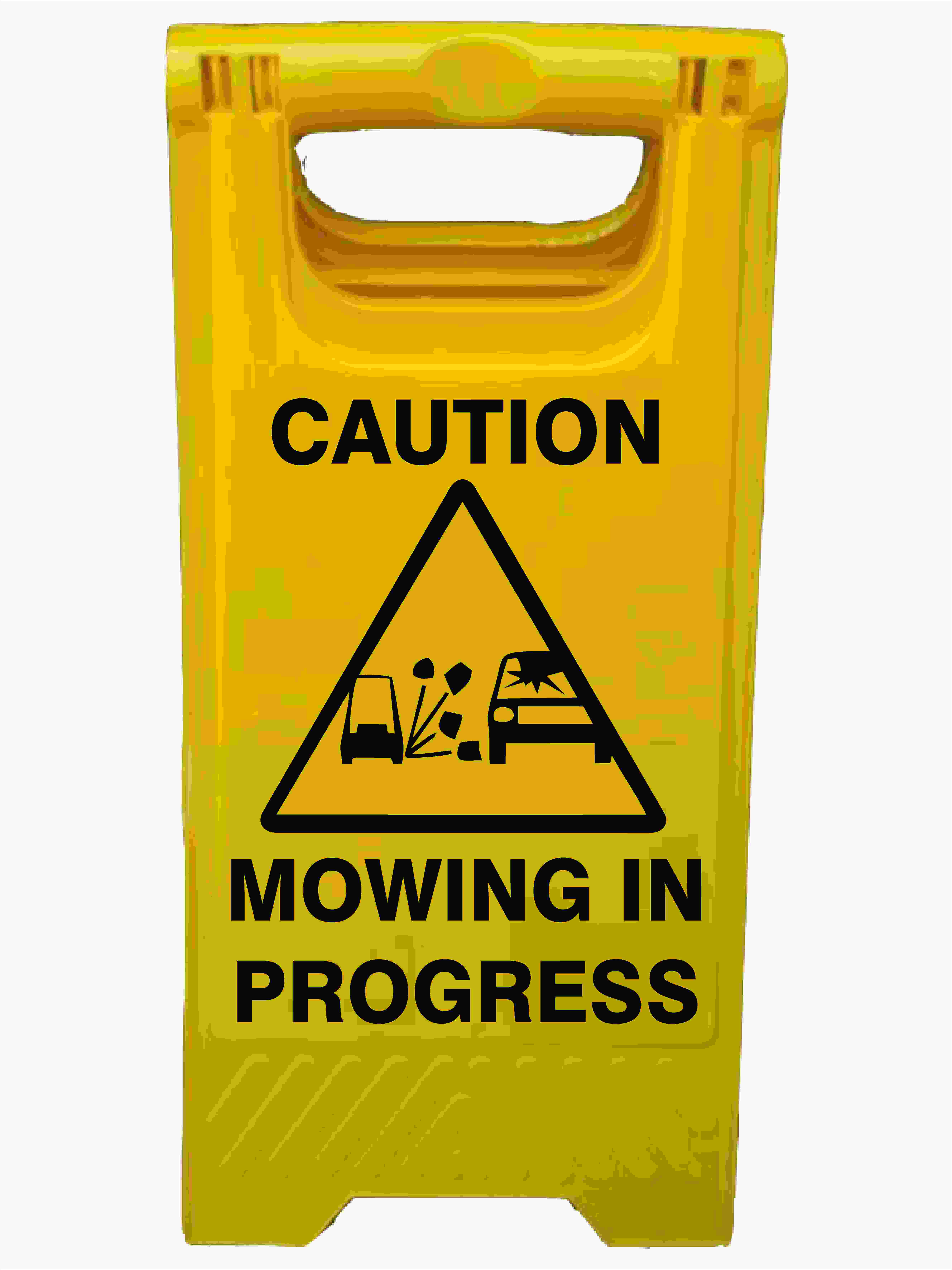 CAUTION MOWING IN PROGRESS A-Frame Signs