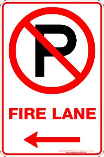 Parking Signs FIRE LANE P ARROW LEFT