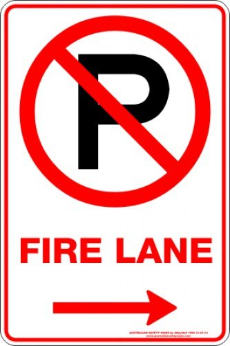 Parking Signs FIRE LANE P ARROW RIGHT