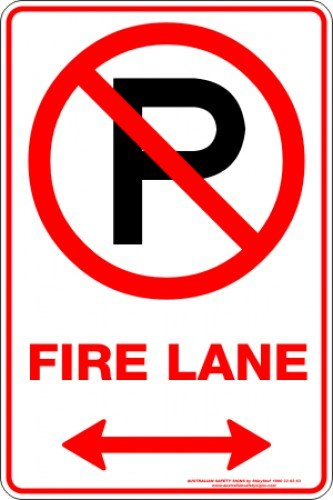 Parking Signs FIRE LANE P SPAN ARROW