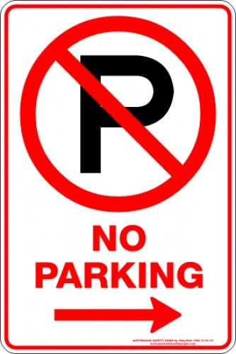 Parking Signs NO PARKING P ARROW RIGHT