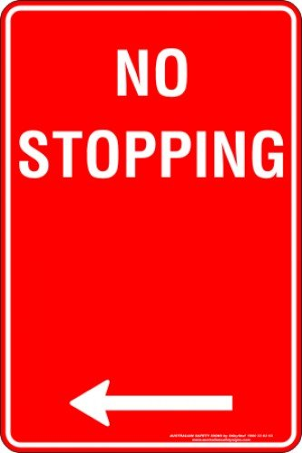 Parking Signs NO STOPPING ARROW LEFT