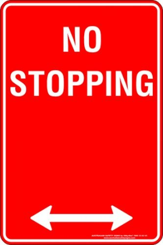 Parking Signs NO STOPPING SPAN ARROW