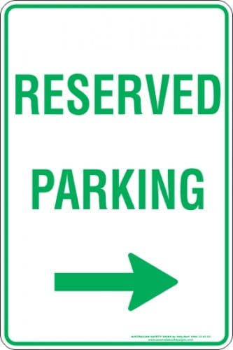 Parking Signs RESERVED PARKING ARROW RIGHT