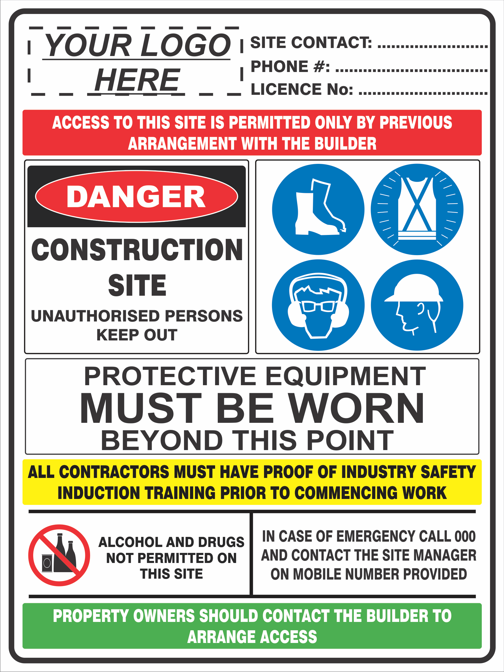 Construction Site Signs CONSTRUCTION SITE COMBINATION SIGN
