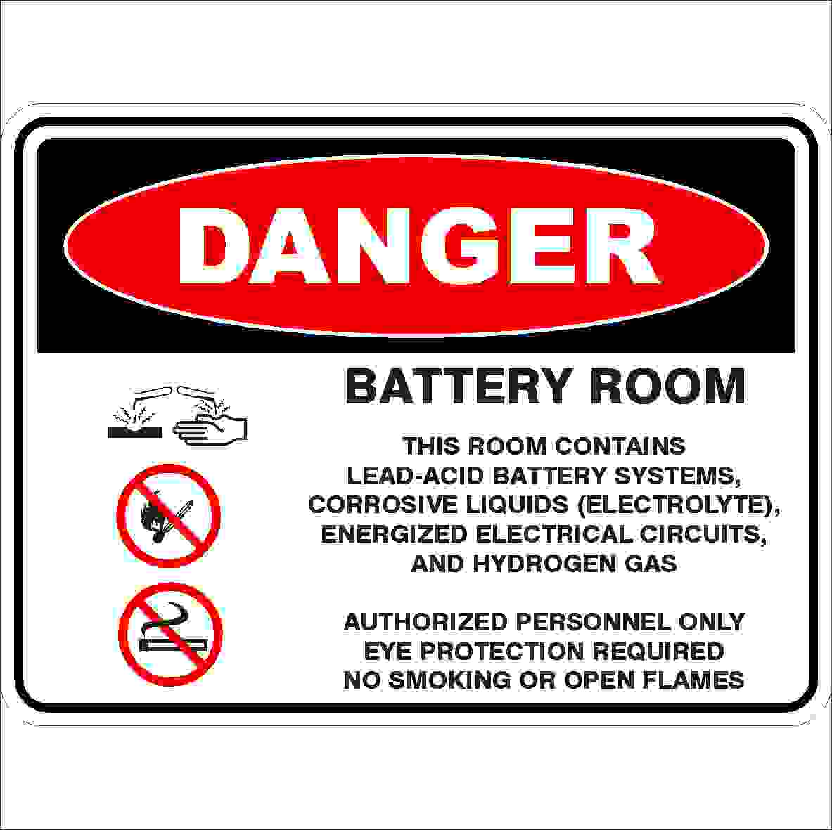 Battery Room Detailed Discount Safety Signs Australia