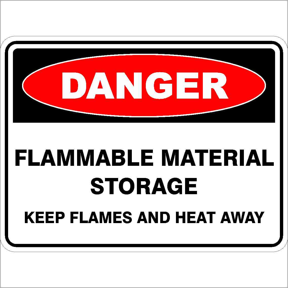 Danger Signs FLAMMABLE MATERIAL STORAGE KEEP HEAT & FLAMES AWAY