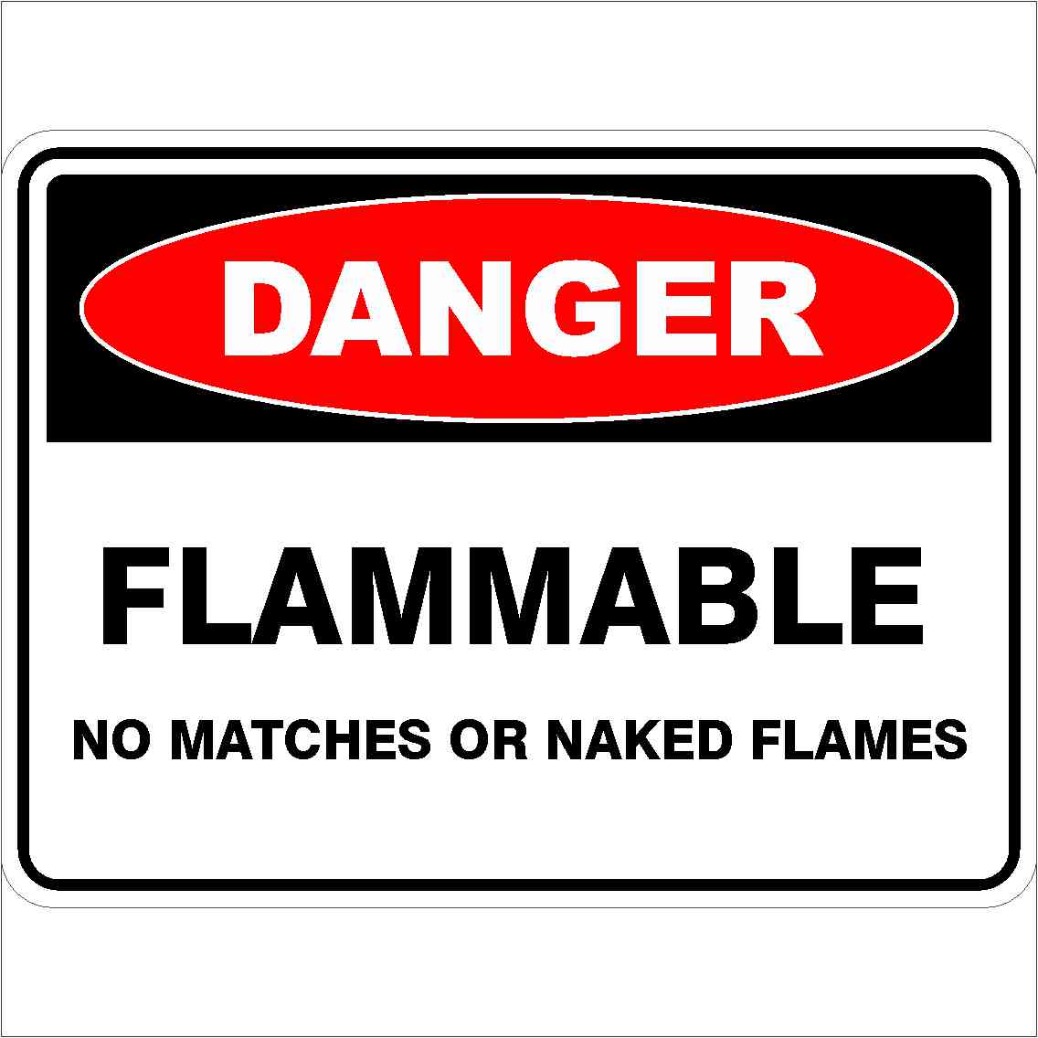 Danger Signs FLAMMABLE NO MATCHED OR NAKED FLAMES