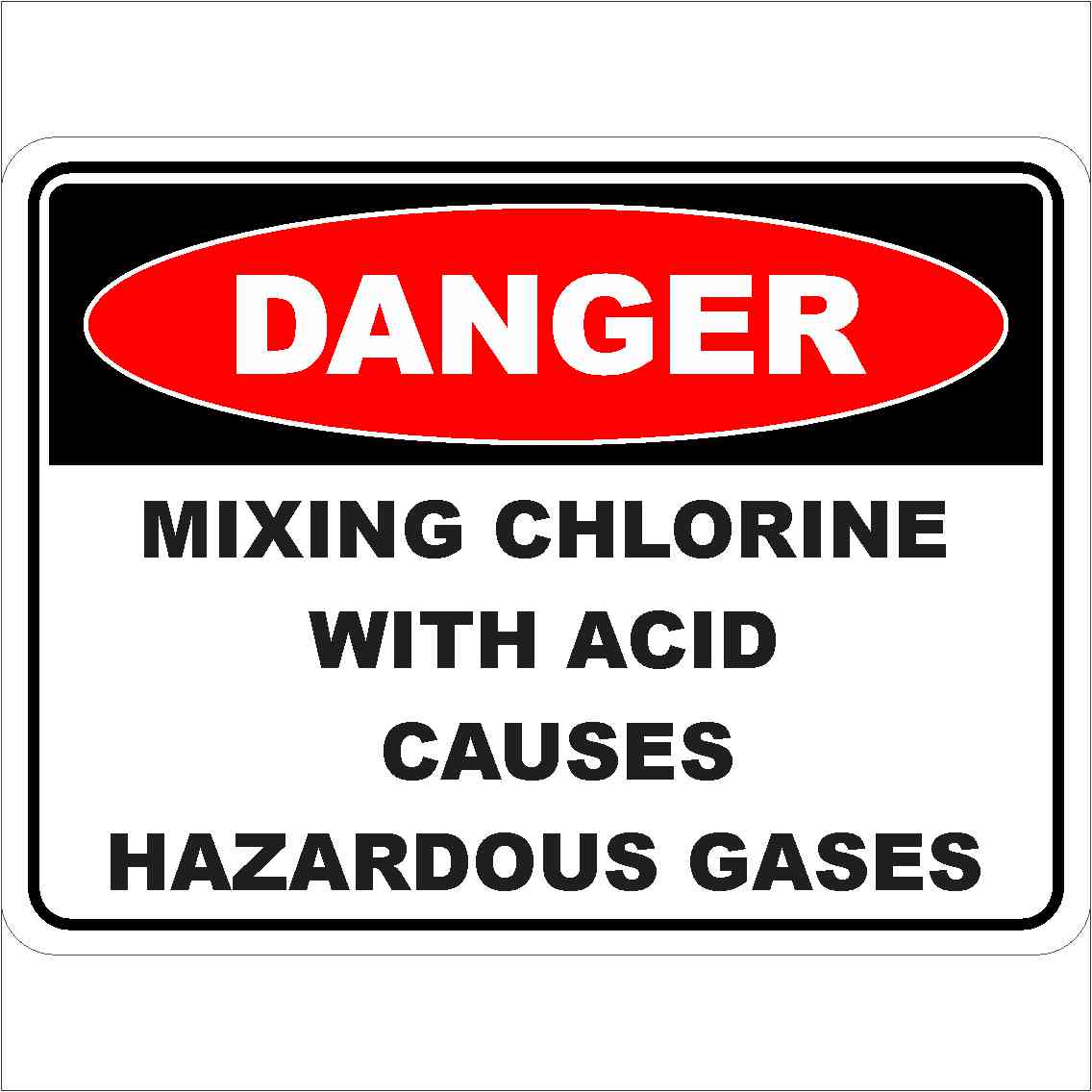 Danger Signs MIXING CHLORINE WITH ACID CAUSES HAZARDOUSE GASES