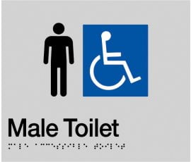 Braille Signs Male Accessible Toilet Sign MDT-SILVER