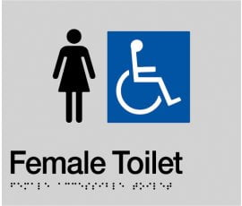 Braille Signs Female Accessible Toilet Sign FDT-SILVER