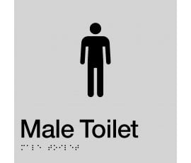 Braille Signs Male Toilet Sign MT-SILVER