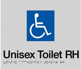 Braille Signs Accessible Toilet Right Hand Sign DTRH-SILVER