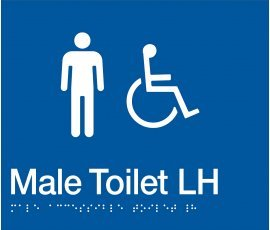Braille Signs Male Accessible Toilet Left Hand Sign MDTLH-BLUE