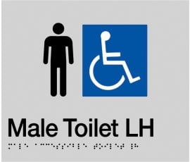 Braille Signs Male Accessible Toilet Left Hand Sign MDTLH-SILVER
