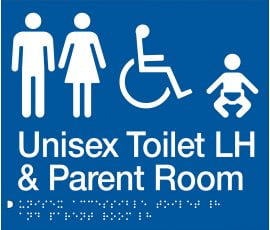 Braille Signs Unisex Accessible Toilet Left Hand & Parent Room Sign MFDTPLH-BLUE