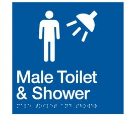 Braille Signs Male Toilet & Shower Sign MTS-BLUE