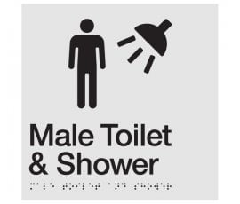 Braille Signs Male Toilet & Shower Sign MTS-SILVER