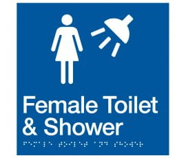 Braille Signs Female Toilet & Shower Sign FTS-BLUE