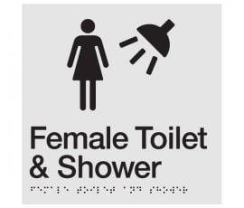 Braille Signs Female Toilet & Shower Sign FTS-SILVER