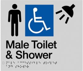 Braille Signs Male Accessible Toilet & Shower Sign MDTS-SILVER