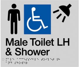 Braille Signs Male Accessible Toilet Left Hand & Shower Sign MDTSLH-SILVER