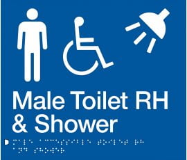 Braille Signs Male Accessible Toilet Right Hand & Shower Sign MDTSRH-BLUE