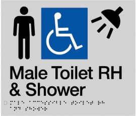 Braille Signs Male Accessible Toilet Right Hand & Shower Sign MDTSRH-SILVER