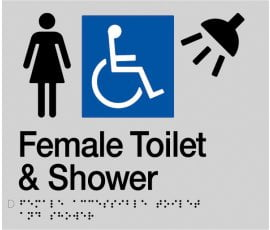 Braille Signs Female Accessible Toilet & Shower Sign FDTS-SILVER