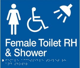 Braille Signs Female Accessible Toilet Right Hand & Shower Sign FDTSRH-BLUE