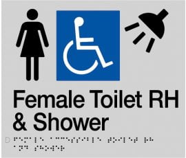Braille Signs Female Accessible Toilet Right Hand & Shower Sign FDTSRH-SILVER