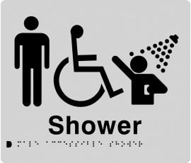 Braille Signs Male Accessible Shower Sign MDS-SILVER