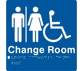 Braille Signs Unisex Accessible Change Room Sign MFDCR-BLUE