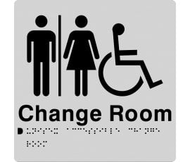 Braille Signs Unisex Accessible Change Room Sign MFDCR-SILVER