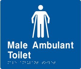 Braille Signs Male Ambulant Toilet Sign MAT-BLUE